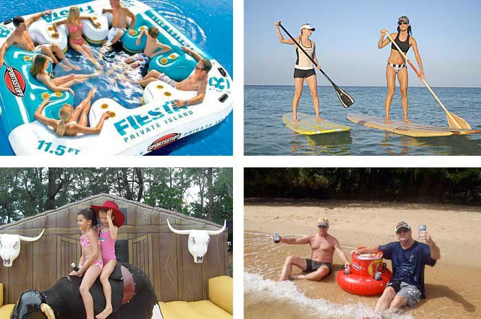 Inflatable Jacuzzis with floating bar, Bucking Bronco, SUP's