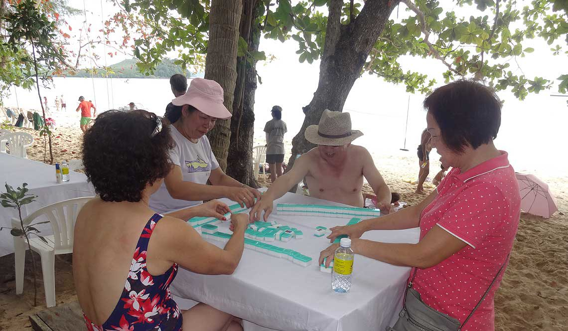 Mahjong in the shade!