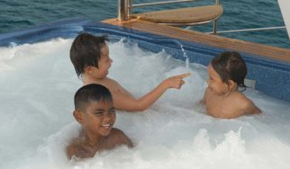 Kiddie fun in the jacuzzi