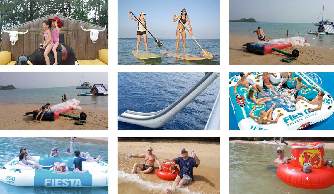 Boat slide, inflatables, even a floating bar and bucking broncho!