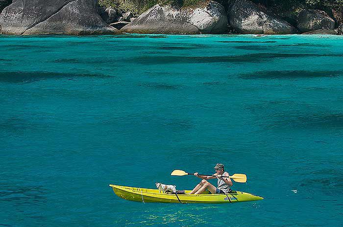 Kayak while your beach dining experience is prepared
