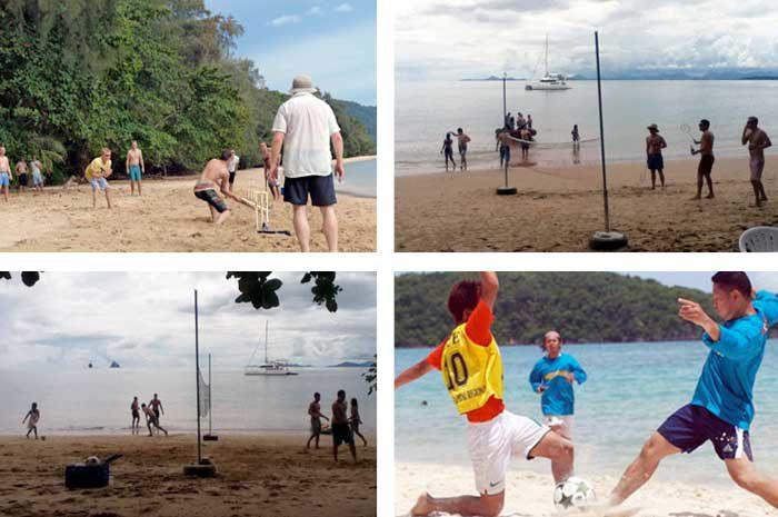 Cricket, badminton, volleyball, football