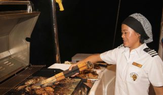Shangani Middle Deck quarterdeck barbecue with our own chef