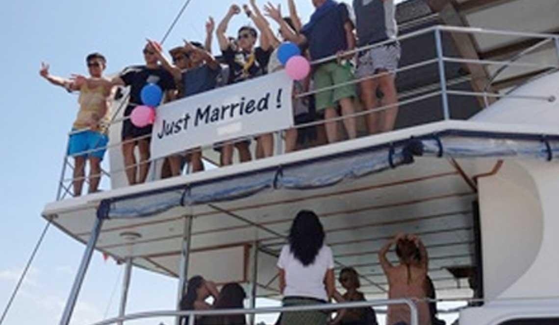 shangani yacht charter just married phuket thailand