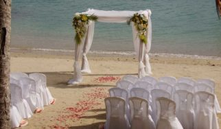 shangani yacht charter wedding signing table archway seating phuket thailand